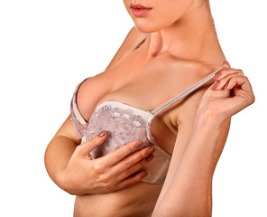 Self examination of women breast cancer. Woman wear lace bra. Body part of girl with beautiful breasts and lips on white background. Advertising of women's underwear. Portrait in profile.