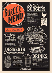 Burger menu restaurant, food template.