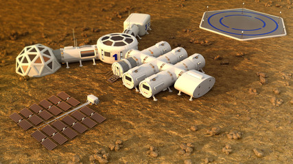 The colony on Mars. Autonomous life on Mars. 3D rendering