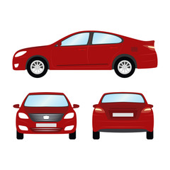 1643405 Car vector template on white background. Business sedan isolated. red sedan flat style. side back front view