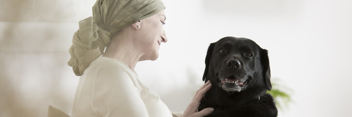 Woman enjoying time with dog