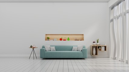 Empty living room with sofa and white color wall ,3d rendering