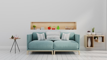 Modern living room with blue sofa and shelf on white wall background.3d rendering.