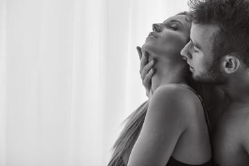 Lovers enjoying foreplay