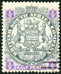 BRITISH CENTRAL AFRICA - 1893: shows symbol of British South Africa company