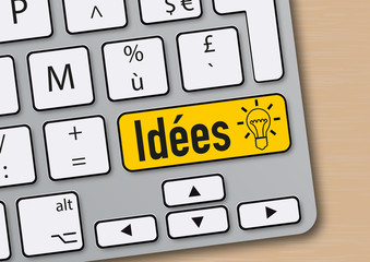 idée - solution - mot - ampoule - créatif - réussite - succès - créativité - clavier d'ordinateur