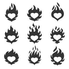 Heart flame set