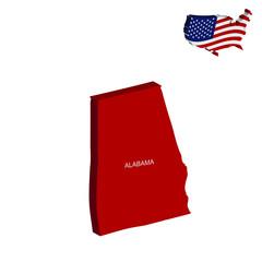 USA map Alabama 3D vector