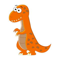 Cute cartoon T-rex. Vector illustration of dinosaur isolated on white background.