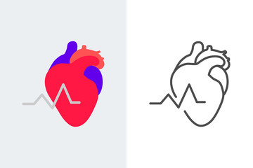 Heart icon flat and linear style