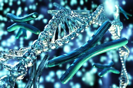 X chromosome, DNA, scientific background, 3D rendering