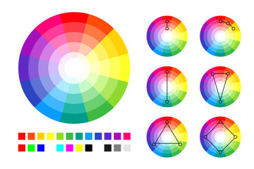 Color wheel, color schemes and RGB and CMYK palette.