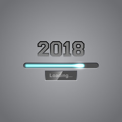 Vector background with progress bar showing loading of 2018 New Year.