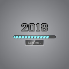 Vector background with neon progress bar showing loading of 2018 New Year.