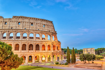 Poster de jardin Rome Rome sunrise city skyline at Rome Colosseum (Roma Coliseum), Rome, Italy