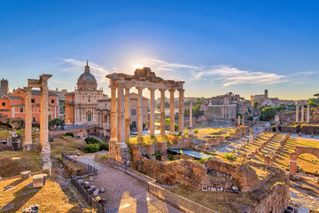 Aluminium Prints Rome Rome sunrise city skyline at Rome Forum (Roman Forum), Rome, Italy