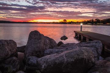 Traverse City Michigan Sunrise. Sunrise over the coast of Grand Traverse Bay in downtown Traverse City.