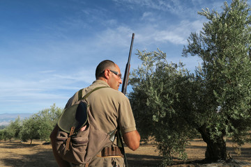 A hunter surrounding by olive trees