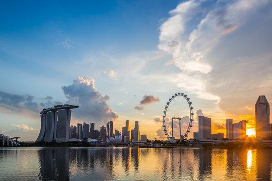 Marina Bay, Singapore at sunset