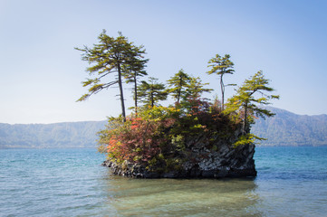 Scenic view of lake Towada with small islands, Aomori, Oirase Gorge, Japan