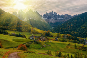 Canvas Prints Honey Colorful autumn scenery in Santa Maddalena village at sunrise. Dolomite Alps, South Tyrol, Italy.