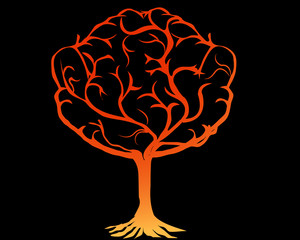 Silhouette of tree of life. Spirituality and mindfulness concept illustration vector.