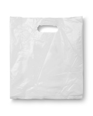 Blank plastic bag mock up isolated