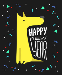 Funny yellow dog. Symbol of year 2018. Flat style, illustration isolated on a white background. Cute vector puppy