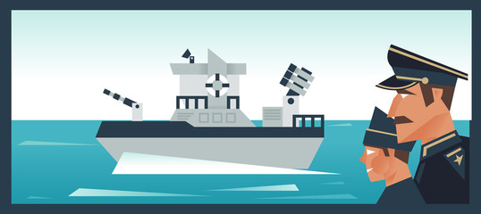 Military fleet. The Admiral and his assistant. Sea ocean. The brave defenders of the homeland. Vector illustration
