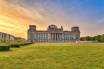 Berlin sunrise city skyline at Reichstag (German parliament building), Berlin, Germany