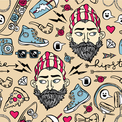Hipster set. Young man, headphones, sneakers, glasses, pizza piece. Seamless vector pattern (background).