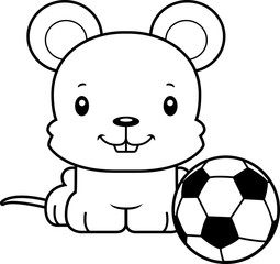 Cartoon Smiling Soccer Player Mouse