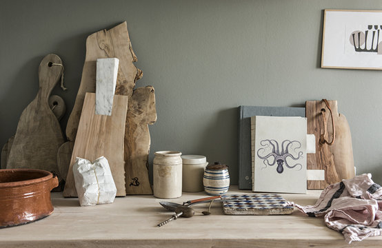 Chopping boards and Cooking utensils in Kitchen