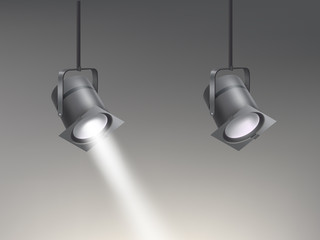 Theater, cinema, studio beaming spotlights hanging from above realistic vector illustration. Turned on and off cine lighting units, lightning equipment for performance or premiere stage illumination
