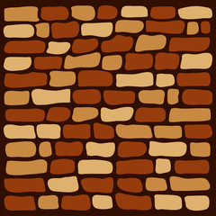 Background brown brick wall, vector illustration