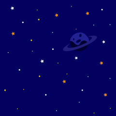 Space background with planet, starry sky Vector illustration