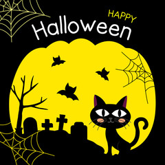 Cute Happy Halloween design concept with sitting black cat with flying bats above cemetery silhouette background for poster, banner, party invitation, greeting card. Vector Illustration.