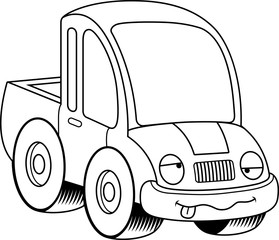 Drunk Cartoon Pickup Truck