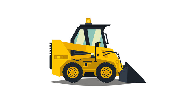 Mini loader. Yellow, flat style. Commercial Vehicles. Special equipment. Vector illustration. Flat style