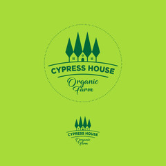 Organic farm emblem. Cypress tree house logo.
