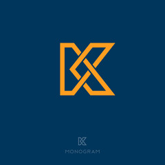 K letter. K monogram. Flat linear letter on a dark background.