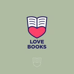 Love book emblem. Love book website emblem. Open book and heart on a light background.
