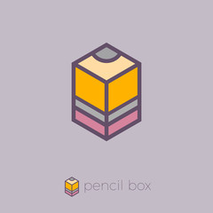Pencil Box hexagon logo. Box emblem. Сube pencil.