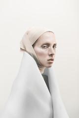 Conceptual fashion portrait of model.