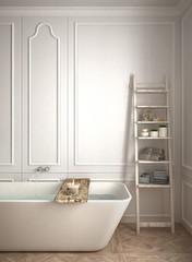 Minimalist bathroom close-up, white scandinavian interior design, classic architecture