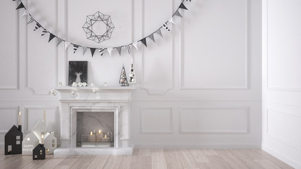 Winter, Christmas, New Year interior design with fireplace and decor, white modern minimal architecture