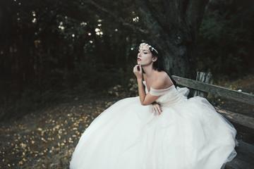 Beautiful bride in a romantic wedding dress