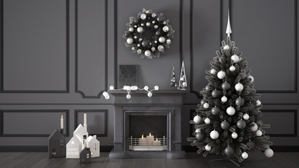 Classic living room with fireplace, Christmas tree and decors, winter, new year scandinavian white and gray interior design