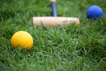 Vintage Croquet Balls In A Green Lawn Ready For Play