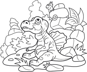 cartoon newborn Spinosaurus, cute illustration